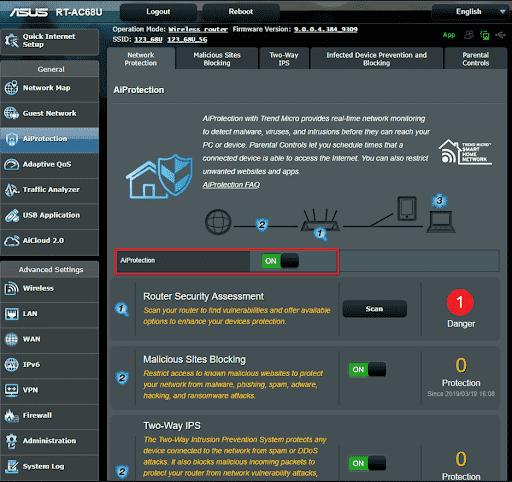 Asus RT AC65U router.asus.com login